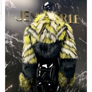 Jennifer Le Yellow Stripe Cropped Bomber